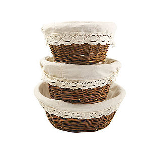 Set Of Three Wicker House Baskets With Lining