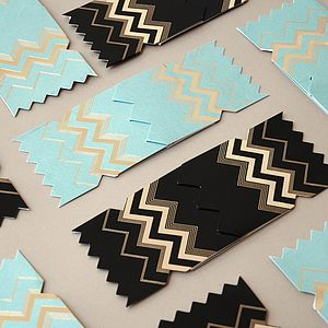 Pack Of Six Chevron Christmas Cracker Cards - seasonal cards