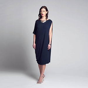 Ruched Asymmetric Dress - dresses