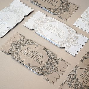 Pack Of Six Season's Greetings Cracker Cards - cards & wrap