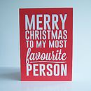 'My Most Favourite Person' Christmas Card