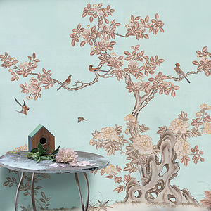 Coffee And Cream Chinoiserie Wallpaper - home decorating