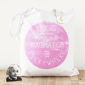 Einstein Logic And Imagination Pink Tote Bag
