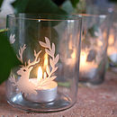 Set Of Three Glass Deer Tea Light Holders
