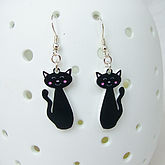 Black Cat Earrings - halloween