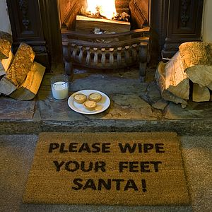 'Please Wipe Your Feet Santa' Door Mat