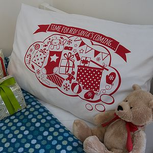 'Time For Bed! Santa's Coming…' Pillowcase