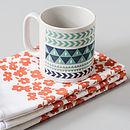 Tea Towel with Winter Stripe Mug