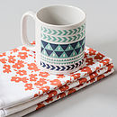 Tea Towel with Winter Stripe Mug
