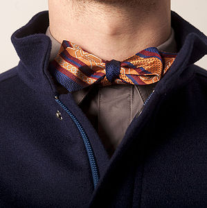 British Silk Oxford Bow Tie In Chevron - ties & tie clips
