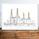 Print Of Battersea Power Station   River View