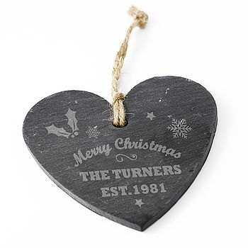 'Merry Christmas' Personalised Slate Heart