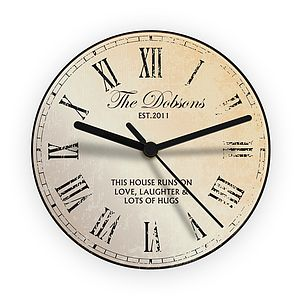 Personalised Message Wall Clock - living room