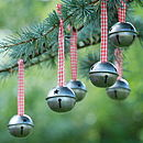 Set Of Six Christmas Sleigh Bell Decorations
