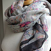 Personalised Faded Bird Print Scarf - mother's day