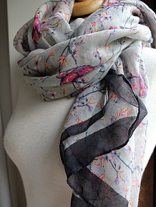 Faded Bird Print Scarf - stocking fillers