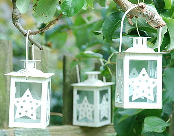 Set Of Three Winter Star Lanterns