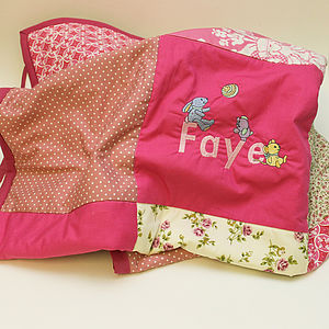 Personalised Baby Name Embroidered Quilt - bed, bath & table linen