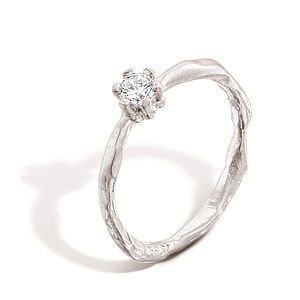 Sculpted Diamond Solitaire Engagement Ring - wedding & engagement rings