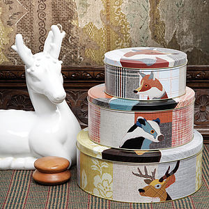 Beastie Stag, Badger And Fox Cake Tin Set - storage & organisers