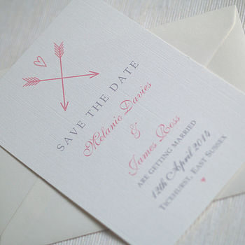 Arrow And Heart Save The Date Cards