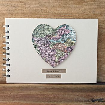 Personalised Vintage Map Guest/Baby Book