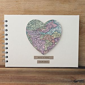 Personalised Vintage Map Guest/Baby Book - keepsakes