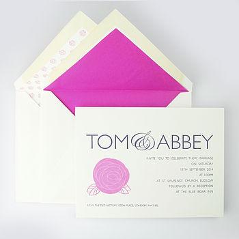 Audley Rose Letterpress Wedding Invitation