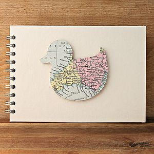 Personalised Vintage Map Duck Baby Book - photo albums