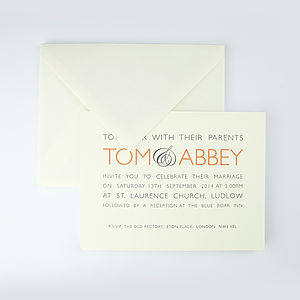 Audley Orange Letterpress Wedding Invitation - wedding stationery