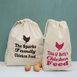 Personalised Chicken Feed Storage Sack - food, feeding & treats