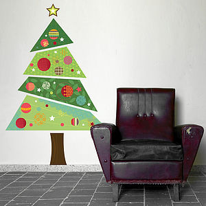 Fabric Christmas Tree Wall Sticker - christmas home
