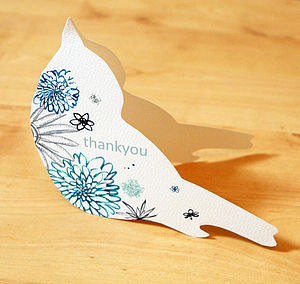 Floral Bird 'Thank You' Card - thank you cards