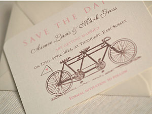 'Tandem Bike' Save The Date Cards