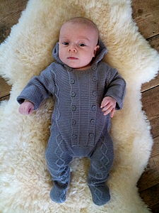 Bamboo Cable Knit Onesie With Hood