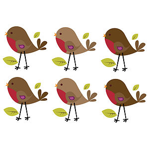 Fabric Robins Wall Sticker Set - home accessories