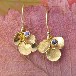 Blue Sapphire Earrings With 18ct Gold Petals - earrings