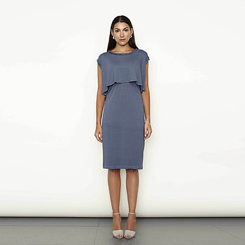 Light French Navy Twisted Neck Detail Layered Dress