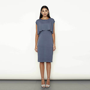 Twisted Neck Detail Layered Dress - dresses