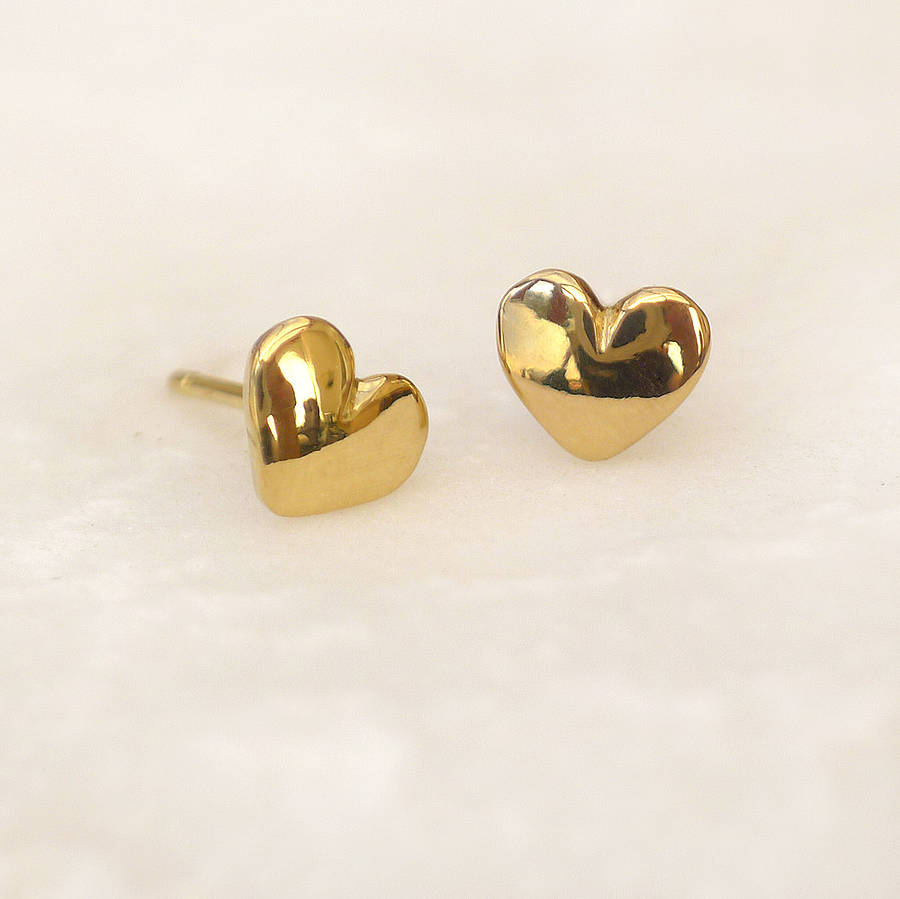 image heart double stud earrings silver open