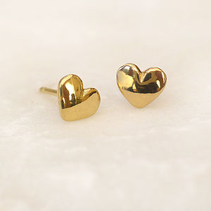 Mini Heart Stud Earrings In 18ct Gold - earrings