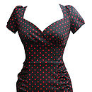 Dita 1940s Style Polka Dot Pencil Dress