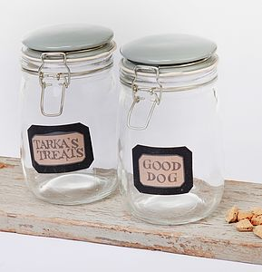 Glass Treat Jar - dogs