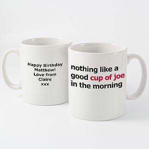 'Good Cup Of Joe' Personalised Mug - tableware