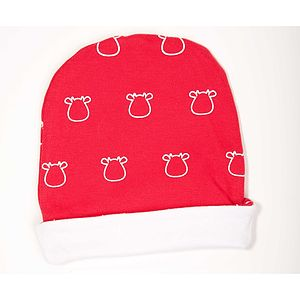 Organic Red Hat With Outline Cow Print - children's hats