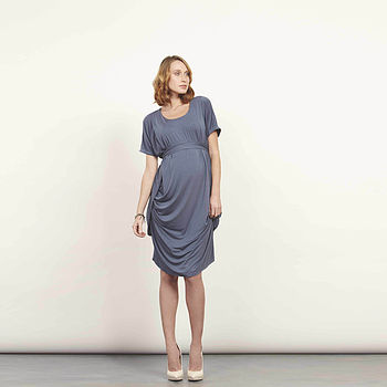 French Navy Ultra Soft Drape Side Dress