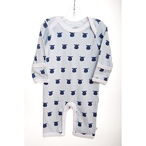 Blue Baby Romper With Navy Cow Print - babygrows