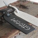 Leather Bride And Groom Luggage Tag Set