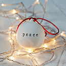 Peace Ceramic Christmas Bauble