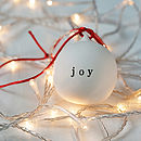 Joy Ceramic Christmas Bauble